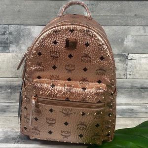MCM champagne gold rose studded backpack